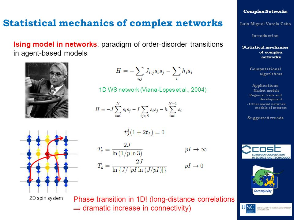 Statistical mechanics of complex networks Ising model in networks: paradigm of order-disorder transitions in agent-based models 2D spin system 1D WS network (Viana-Lopes et al., 2004) Complex Networks Luis Miguel Varela Cabo Introduction Statistical mechanics of complex networks Computational algorithms Applications - Market models Regional trade and development - Other social network models of interest Suggested trends Phase transition in 1D.