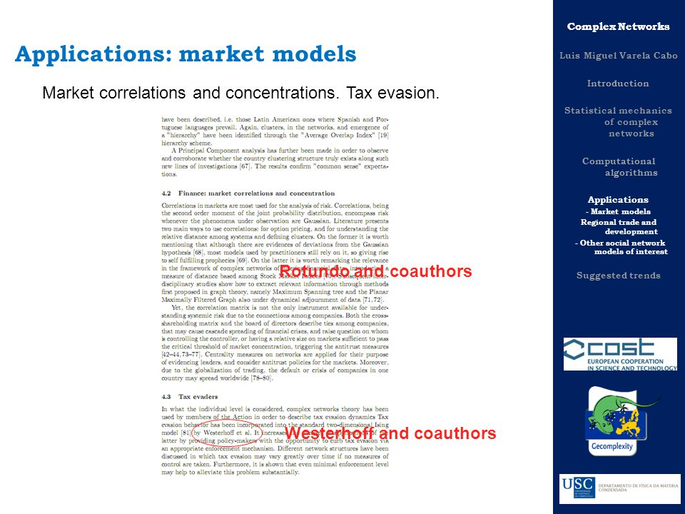 Complex Networks Luis Miguel Varela Cabo Introduction Statistical mechanics of complex networks Computational algorithms Applications - Market models Regional trade and development - Other social network models of interest Suggested trends Applications: market models Market correlations and concentrations.