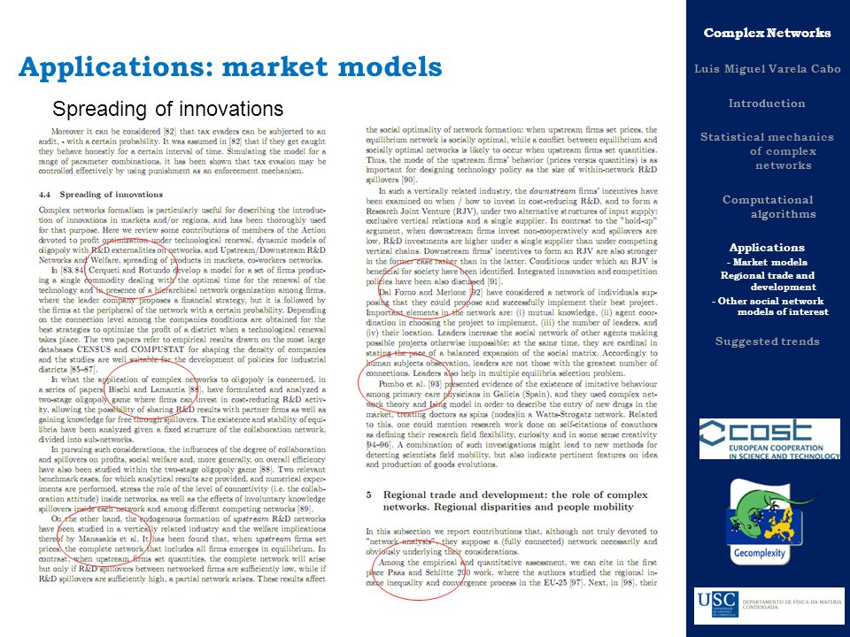 Complex Networks Luis Miguel Varela Cabo Introduction Statistical mechanics of complex networks Computational algorithms Applications - Market models Regional trade and development - Other social network models of interest Suggested trends Applications: market models Spreading of innovations