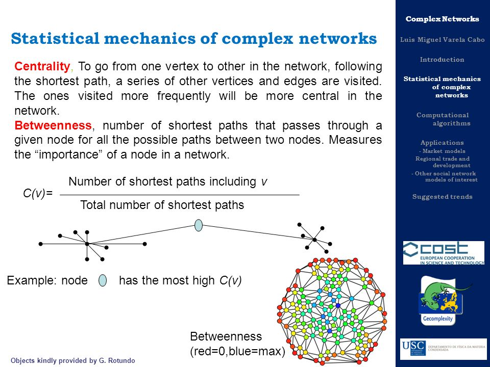 Statistical mechanics of complex networks Centrality, To go from one vertex to other in the network, following the shortest path, a series of other vertices and edges are visited.