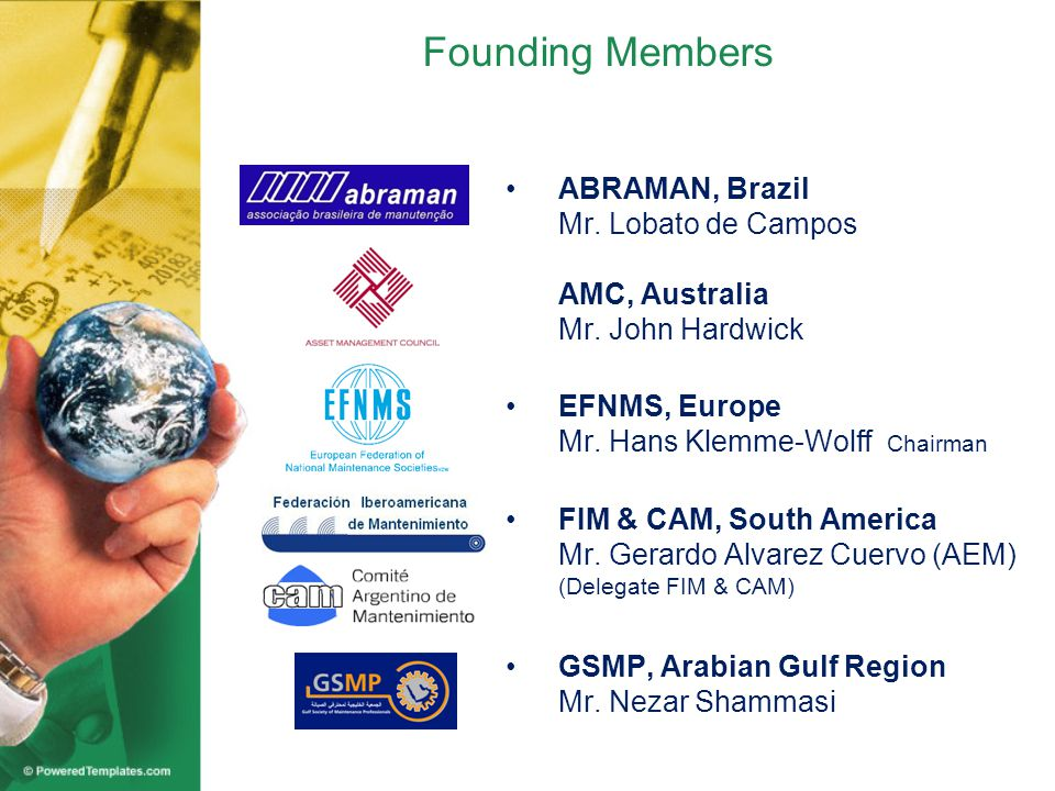 Founding Members ABRAMAN, Brazil Mr. Lobato de Campos AMC, Australia Mr.