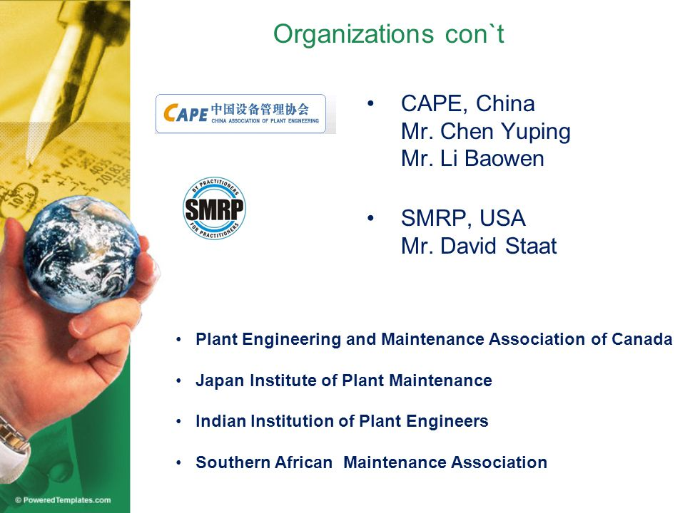 Organizations con`t CAPE, China Mr. Chen Yuping Mr.