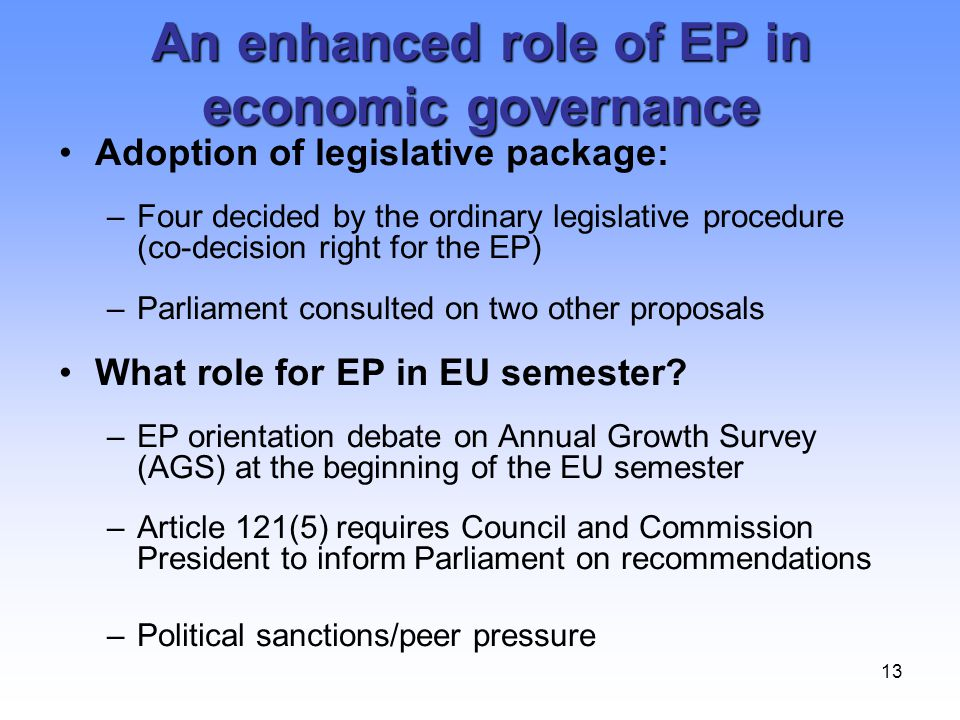13 An enhanced role of EP in economic governance Adoption of legislative package: –Four decided by the ordinary legislative procedure (co-decision rig