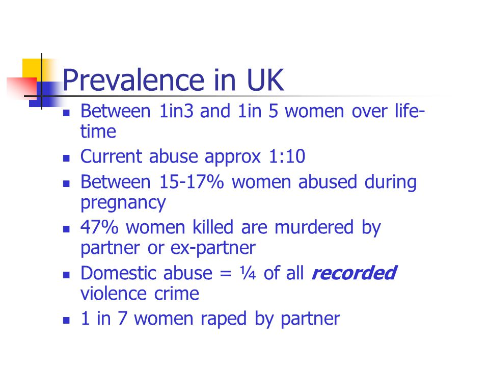 Prevalence in UK Between 1in3 and 1in 5 women over life- time Current abuse approx 1:10 Between 15-17% women abused during pregnancy 47% women killed are murdered by partner or ex-partner Domestic abuse = ¼ of all recorded violence crime 1 in 7 women raped by partner