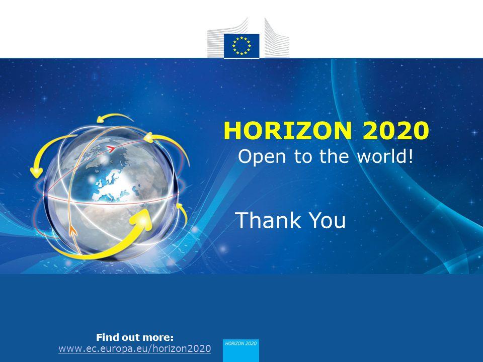 HORIZON 2020 Find out more: www.ec.europa.eu/horizon2020 HORIZON 2020 Open to the world! Thank You