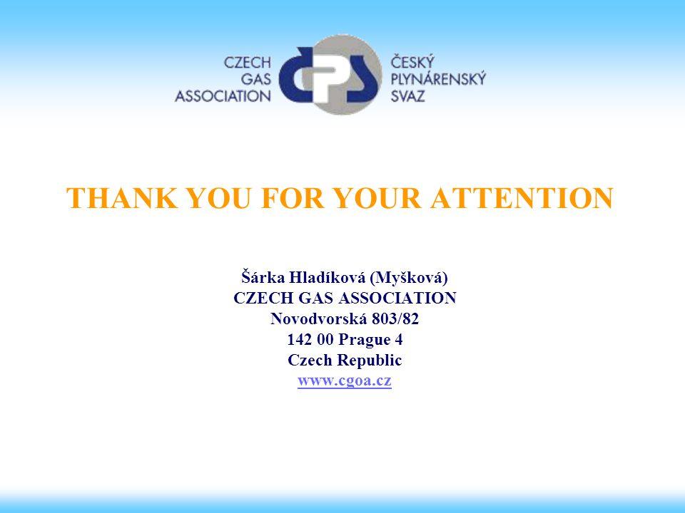THANK YOU FOR YOUR ATTENTION Šárka Hladíková (Myšková) CZECH GAS ASSOCIATION Novodvorská 803/82 142 00 Prague 4 Czech Republic www.cgoa.cz