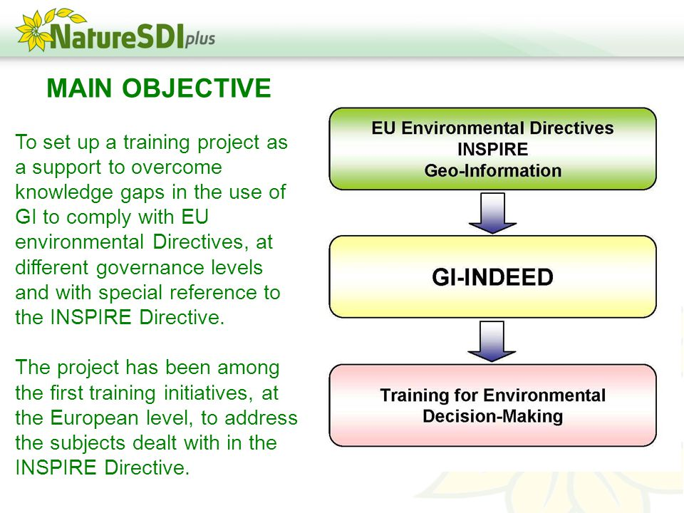 MAIN OBJECTIVE To set up a training project as a support to overcome knowledge gaps in the use of GI to comply with EU environmental Directives, at different governance levels and with special reference to the INSPIRE Directive.
