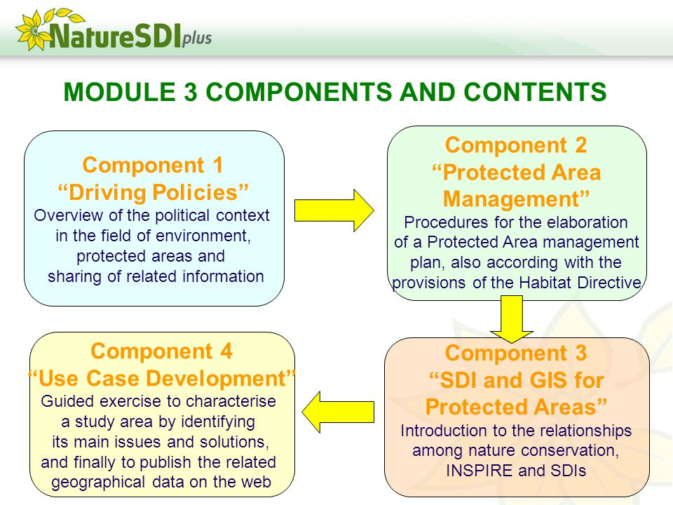 MODULE 3 COMPONENTS AND CONTENTS Component 1 Driving Policies Overview of the political context in the field of environment, protected areas and sharing of related information Component 2 Protected Area Management Procedures for the elaboration of a Protected Area management plan, also according with the provisions of the Habitat Directive Component 3 SDI and GIS for Protected Areas Introduction to the relationships among nature conservation, INSPIRE and SDIs Component 4 Use Case Development Guided exercise to characterise a study area by identifying its main issues and solutions, and finally to publish the related geographical data on the web
