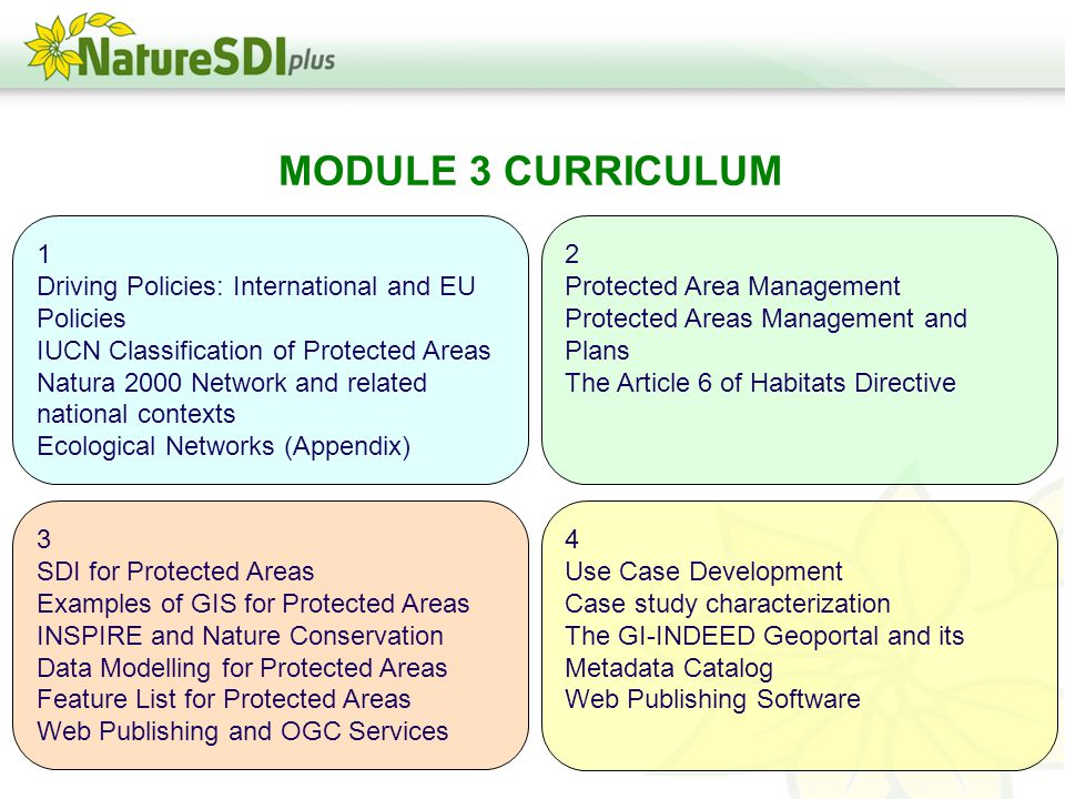 MODULE 3 CURRICULUM 1 Driving Policies: International and EU Policies IUCN Classification of Protected Areas Natura 2000 Network and related national contexts Ecological Networks (Appendix) 2 Protected Area Management Protected Areas Management and Plans The Article 6 of Habitats Directive 3 SDI for Protected Areas Examples of GIS for Protected Areas INSPIRE and Nature Conservation Data Modelling for Protected Areas Feature List for Protected Areas Web Publishing and OGC Services 4 Use Case Development Case study characterization The GI-INDEED Geoportal and its Metadata Catalog Web Publishing Software