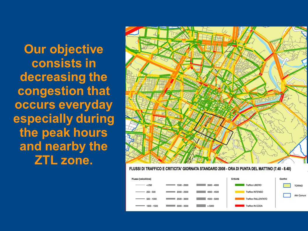 Our objective consists in decreasing the congestion that occurs everyday especially during the peak hours and nearby the ZTL zone.