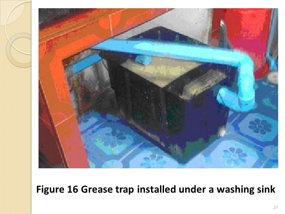 23 Figure 16 Grease trap installed under a washing sink