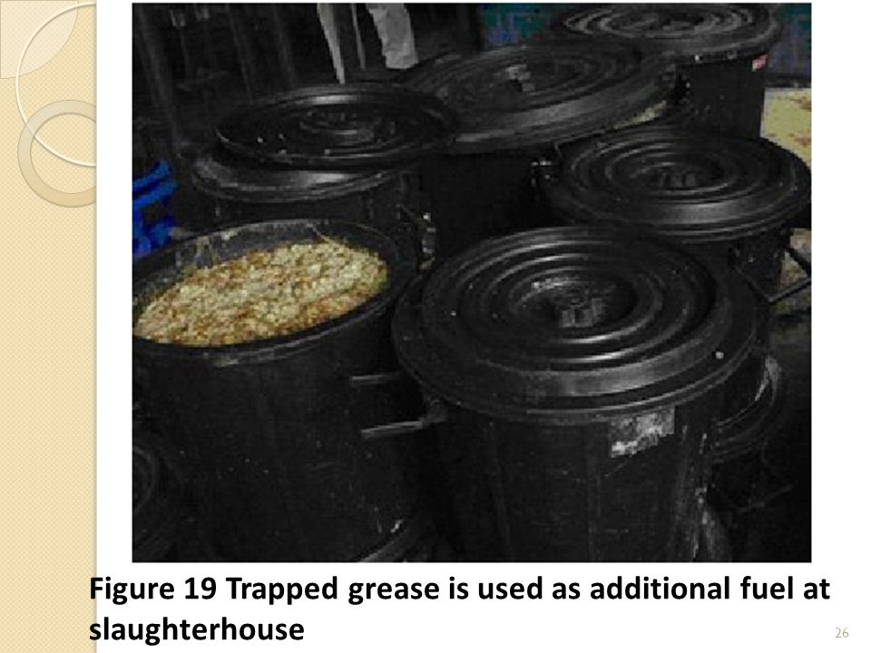 26 Figure 19 Trapped grease is used as additional fuel at slaughterhouse