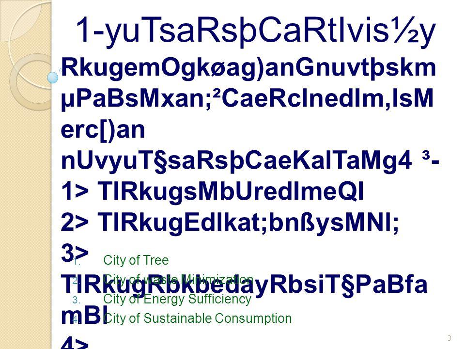CMrujkardaMedImeQI CMuvijRkug bþÚrBIsMrameTAkñúg rukçCati begáIntMbn;Bt'ébtg elIkTwkcitþRbCaBlrdæ [daMedImeQI 4 1-yuTsaRsþCaRtIvis½y Promotion of planting trees around city Turn trash into trees Increase the green areas Motivating the people to plant tress
