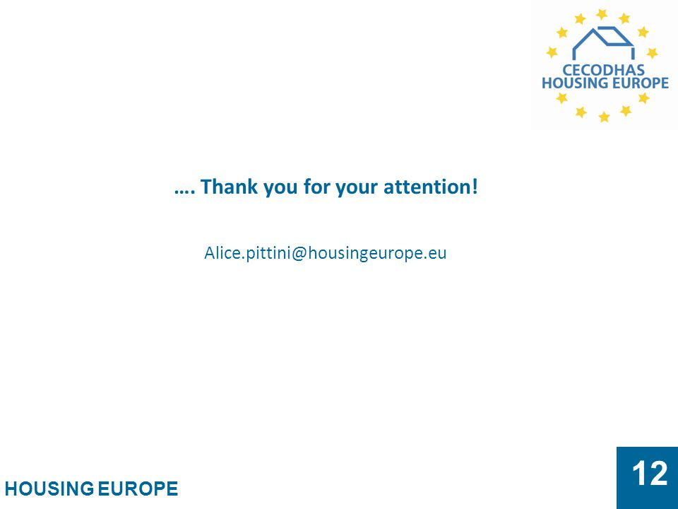 HOUSING EUROPE 12 …. Thank you for your attention! Alice.pittini@housingeurope.eu