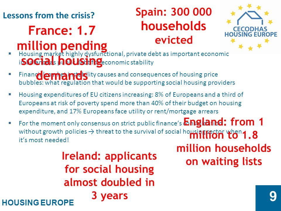 HOUSING EUROPE 9 Lessons from the crisis.