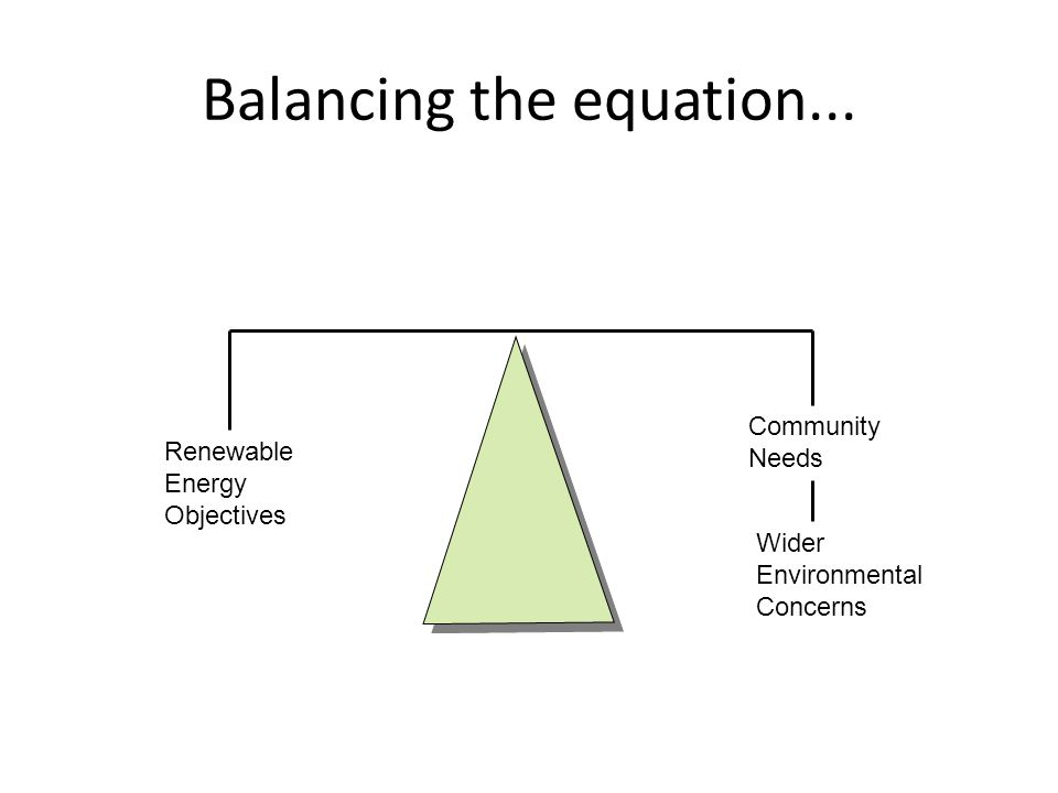 Balancing the equation... Renewable Energy Objectives Community Needs Wider Environmental Concerns