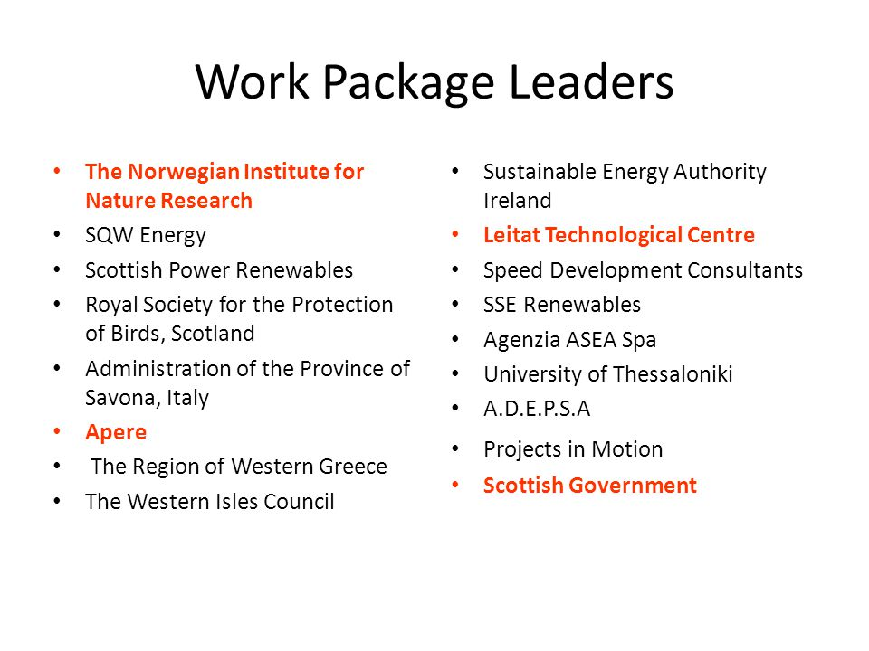 Work Package Leaders The Norwegian Institute for Nature Research SQW Energy Scottish Power Renewables Royal Society for the Protection of Birds, Scotland Administration of the Province of Savona, Italy Apere The Region of Western Greece The Western Isles Council Sustainable Energy Authority Ireland Leitat Technological Centre Speed Development Consultants SSE Renewables Agenzia ASEA Spa University of Thessaloniki A.D.E.P.S.A Projects in Motion Scottish Government