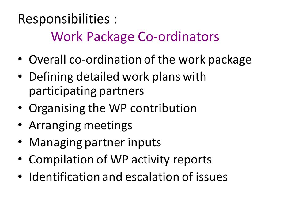 Responsibilities : Work Package Co-ordinators Overall co-ordination of the work package Defining detailed work plans with participating partners Organising the WP contribution Arranging meetings Managing partner inputs Compilation of WP activity reports Identification and escalation of issues