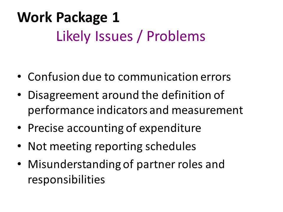 Work Package 1 Likely Issues / Problems Confusion due to communication errors Disagreement around the definition of performance indicators and measurement Precise accounting of expenditure Not meeting reporting schedules Misunderstanding of partner roles and responsibilities