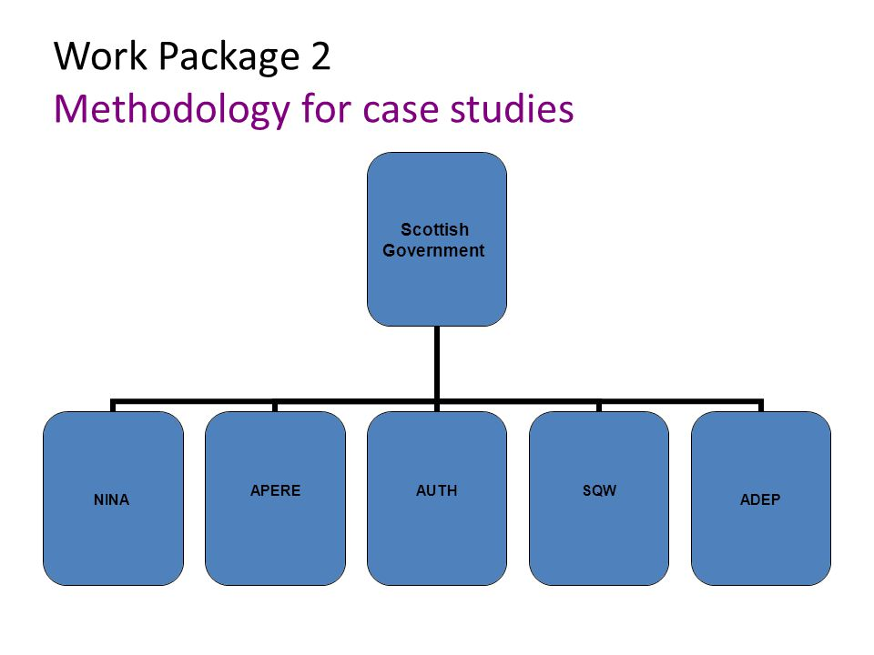 Work Package 2 Methodology for case studies Scottish Government NINA APEREAUTHSQW ADEP