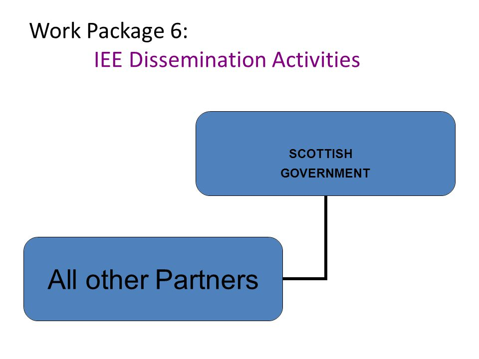 Work Package 6: IEE Dissemination Activities SCOTTISH GOVERNMENT All other Partners