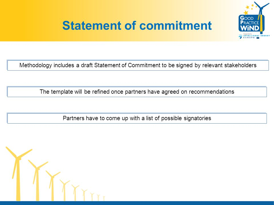 Statement of commitment Methodology includes a draft Statement of Commitment to be signed by relevant stakeholders The template will be refined once partners have agreed on recommendations Partners have to come up with a list of possible signatories