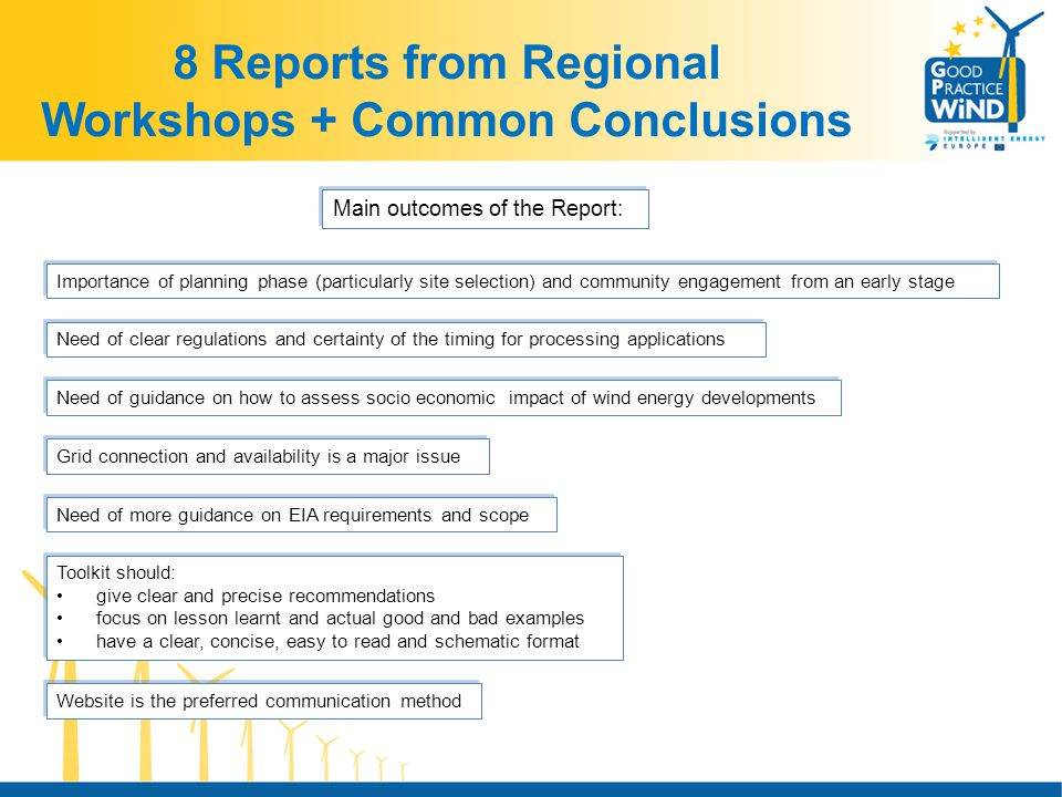 8 Reports from Regional Workshops + Common Conclusions Importance of planning phase (particularly site selection) and community engagement from an early stage Main outcomes of the Report: Need of clear regulations and certainty of the timing for processing applications Need of guidance on how to assess socio economic impact of wind energy developments Grid connection and availability is a major issue Website is the preferred communication method Toolkit should: give clear and precise recommendations focus on lesson learnt and actual good and bad examples have a clear, concise, easy to read and schematic format Toolkit should: give clear and precise recommendations focus on lesson learnt and actual good and bad examples have a clear, concise, easy to read and schematic format Need of more guidance on EIA requirements and scope