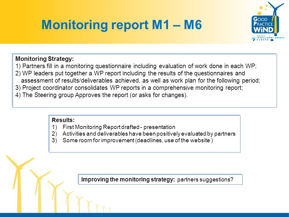 Monitoring report M1 – M6 Results: 1)First Monitoring Report drafted - presentation 2)Activities and deliverables have been positively evaluated by partners 3)Some room for improvement (deadlines, use of the website ) Results: 1)First Monitoring Report drafted - presentation 2)Activities and deliverables have been positively evaluated by partners 3)Some room for improvement (deadlines, use of the website ) Monitoring Strategy: 1) Partners fill in a monitoring questionnaire including evaluation of work done in each WP; 2) WP leaders put together a WP report including the results of the questionnaires and assessment of results/deliverables achieved, as well as work plan for the following period; 3) Project coordinator consolidates WP reports in a comprehensive monitoring report; 4) The Steering group Approves the report (or asks for changes).