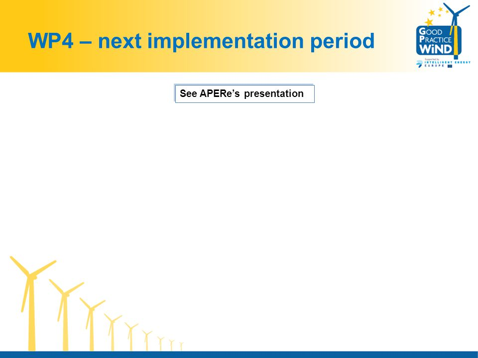 WP4 – next implementation period See APERe's presentation