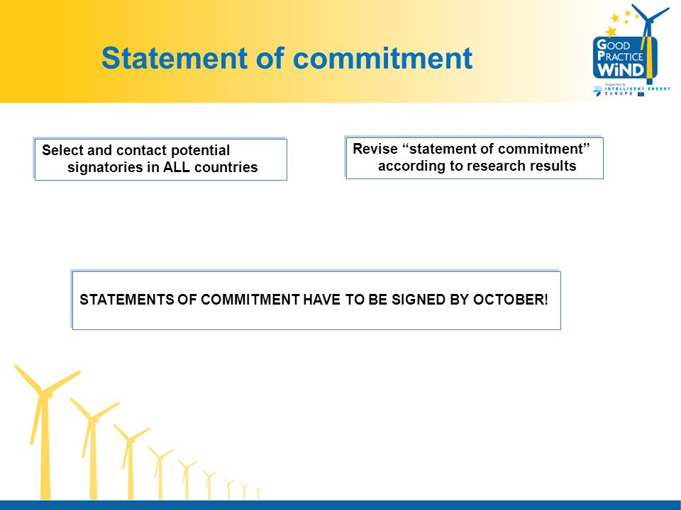 Statement of commitment Select and contact potential signatories in ALL countries Revise statement of commitment according to research results STATEMENTS OF COMMITMENT HAVE TO BE SIGNED BY OCTOBER!
