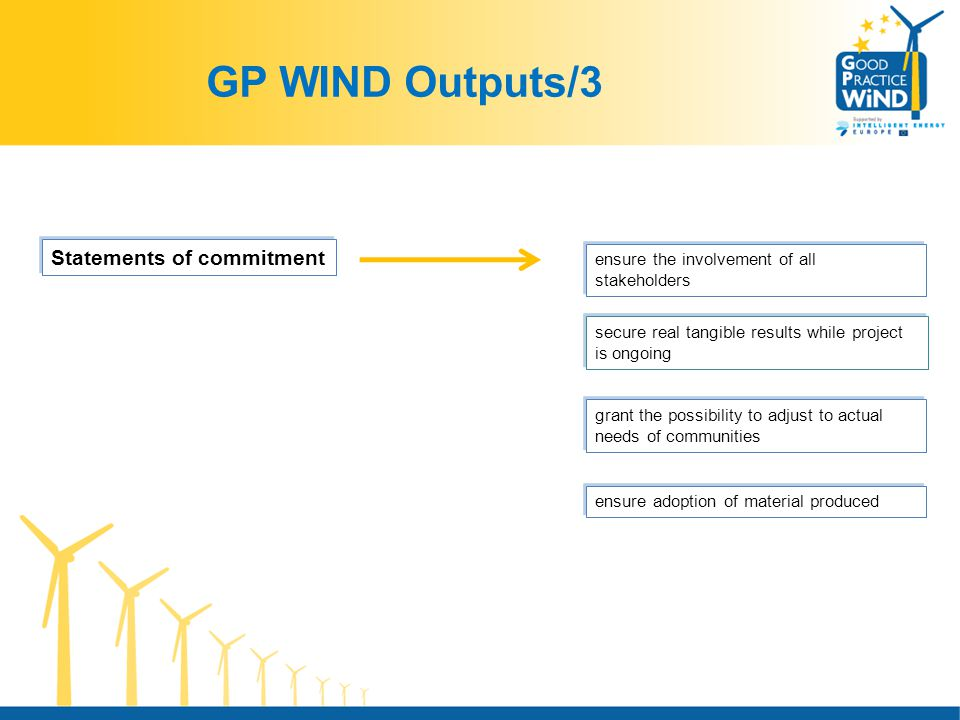 GP WIND Outputs/3 Statements of commitment ensure the involvement of all stakeholders secure real tangible results while project is ongoing grant the possibility to adjust to actual needs of communities ensure adoption of material produced