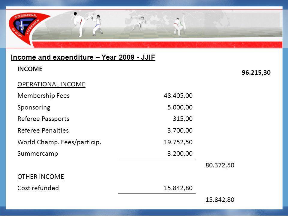 Income and expenditure – Year 2009 - JJIF EXPENDITURES-72.769,08 ADMINISTRATION COSTS Stationary,224,28 Sundry0,00 Shop2.004,90 Fees auditor1.210,00 Freight & transport0,00 Rent Lausanne0,00 Internet/Website129,93 -3.569,11