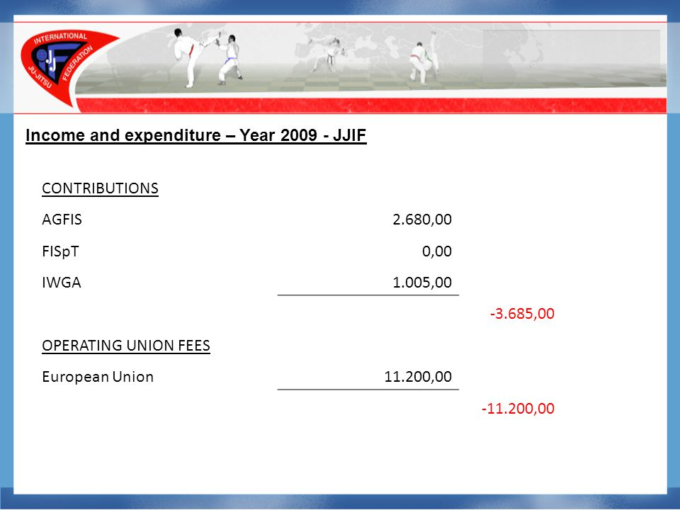 Income and expenditure – Year 2009 - JJIF TRAVEL COSTS Travelling costs30.903,66 Travelling costs others0,00 Hotel expenses30.561,31 -61.464,97 DEPRECIATION Bad Debtor-7.150,00 Amounts wr.