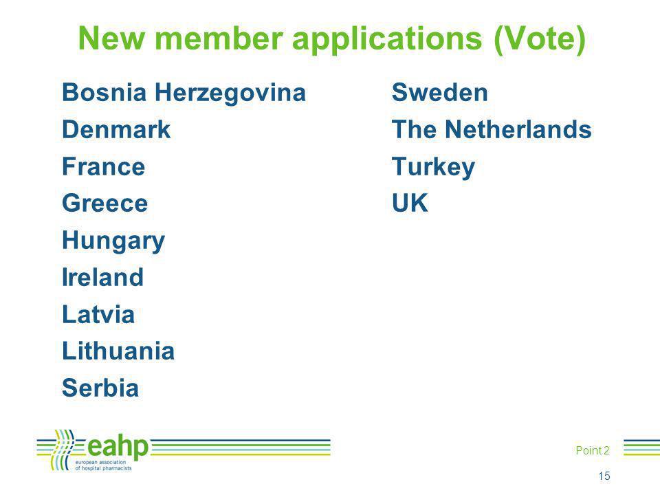 Point 2 New member applications (Vote) Bosnia HerzegovinaSweden DenmarkThe Netherlands FranceTurkey GreeceUK Hungary Ireland Latvia Lithuania Serbia 1