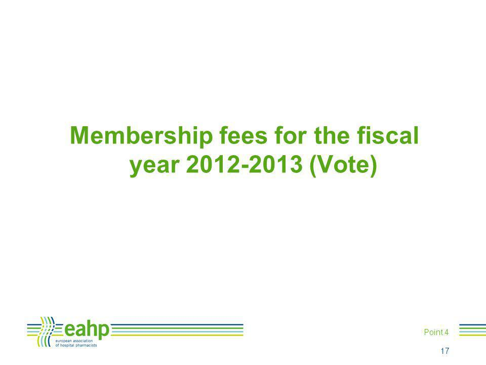 Membership fees for the fiscal year 2012-2013 (Vote) Point 4 17