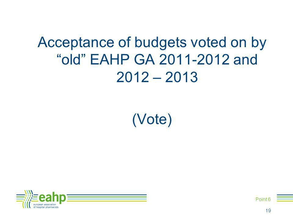 """Acceptance of budgets voted on by """"old"""" EAHP GA 2011-2012 and 2012 – 2013 (Vote) Point 6 19"""