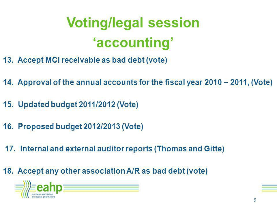 Voting/legal session 'accounting' 13. Accept MCI receivable as bad debt (vote) 14. Approval of the annual accounts for the fiscal year 2010 – 2011, (V