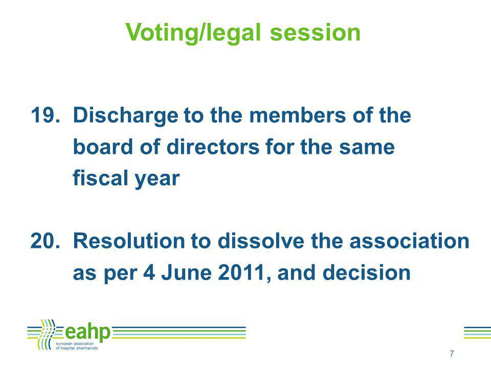 Voting/legal session 19. Discharge to the members of the board of directors for the same fiscal year 20. Resolution to dissolve the association as per
