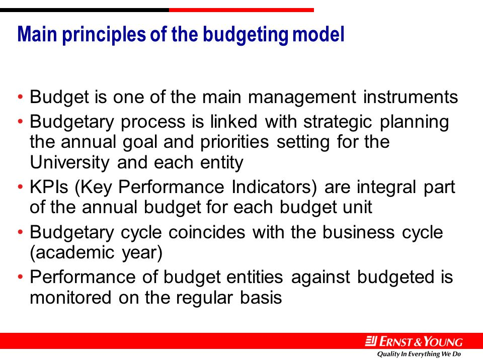 Main principles of the budgeting model Budget is one of the main management instruments Budgetary process is linked with strategic planning the annual goal and priorities setting for the University and each entity KPIs (Key Performance Indicators) are integral part of the annual budget for each budget unit Budgetary cycle coincides with the business cycle (academic year) Performance of budget entities against budgeted is monitored on the regular basis