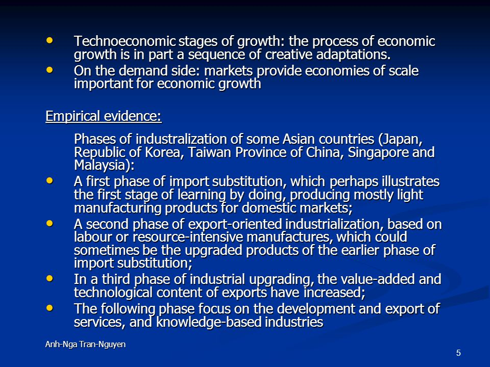 5 Technoeconomic stages of growth: the process of economic growth is in part a sequence of creative adaptations.