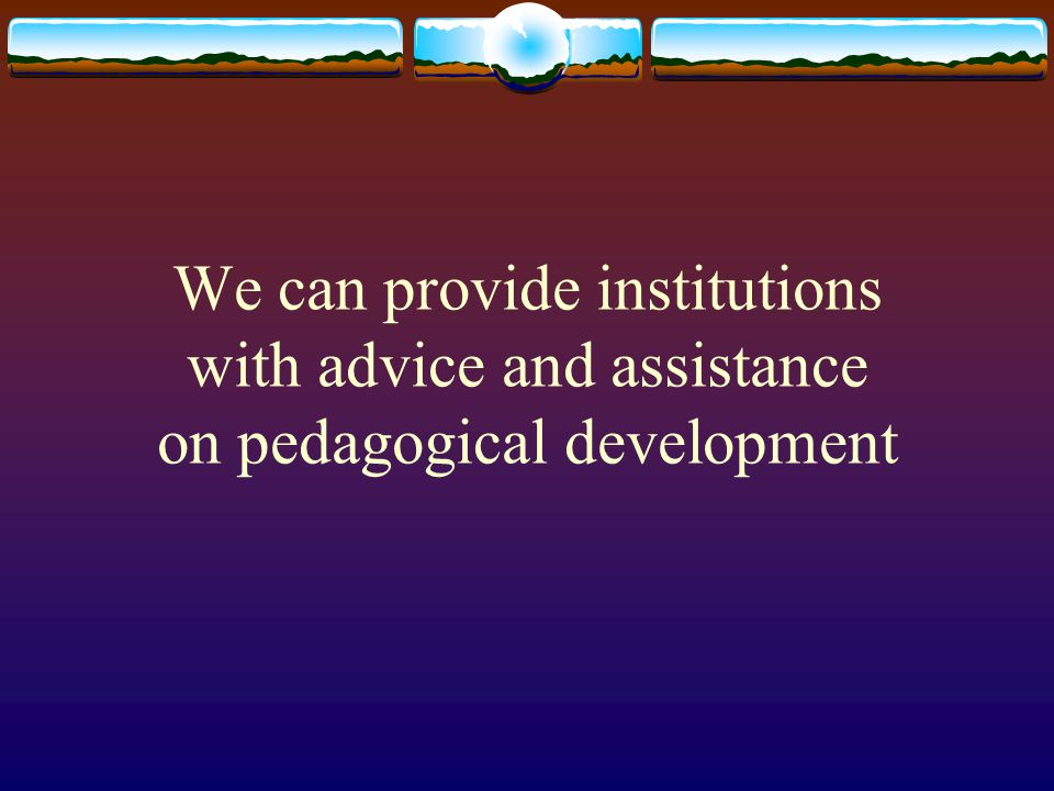 We can provide institutions with advice and assistance on pedagogical development