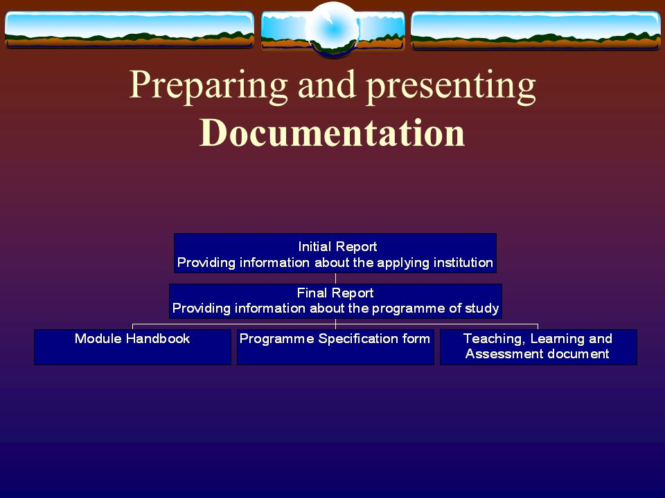 Preparing and presenting Documentation