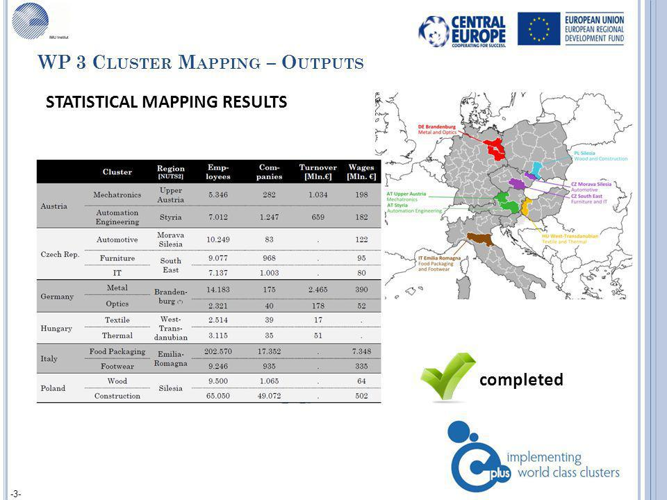-3- STATISTICAL MAPPING RESULTS completed WP 3 C LUSTER M APPING – O UTPUTS