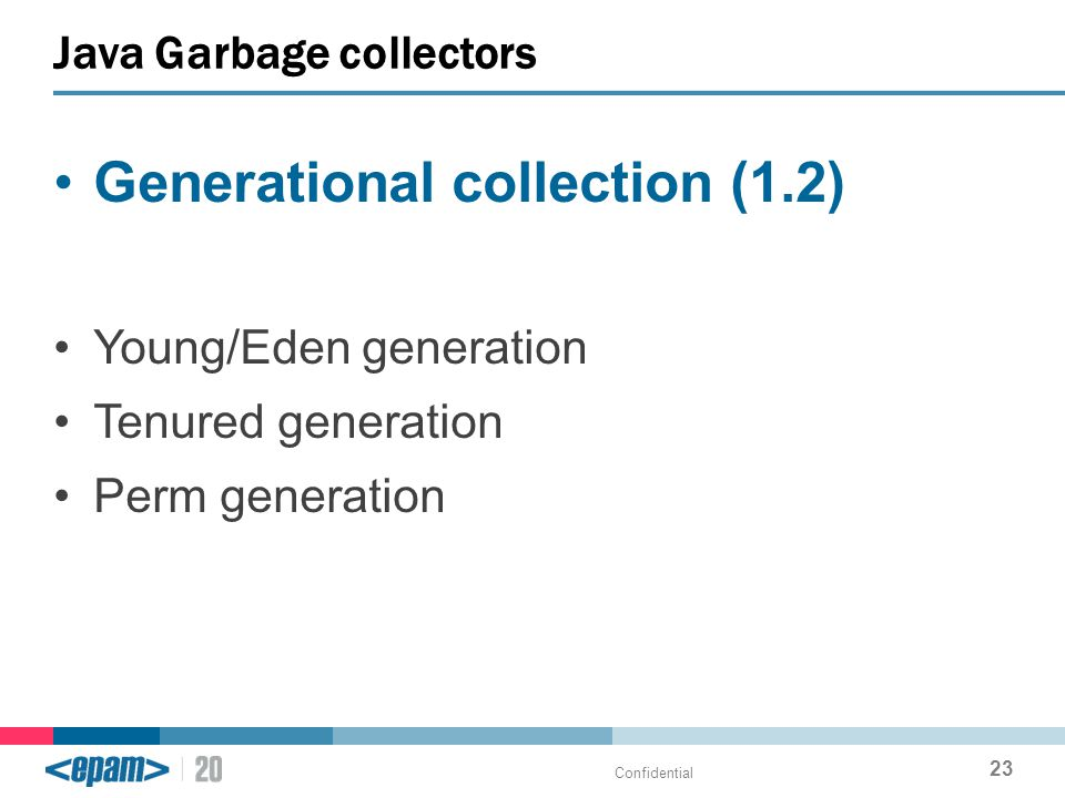 Generational collection (1.2) Young/Eden generation Tenured generation Perm generation Java Garbage collectors Confidential 23