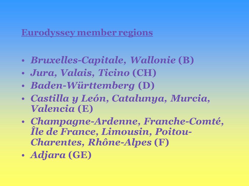 Eurodyssey member regions Bruxelles-Capitale, Wallonie (B) Jura, Valais, Ticino (CH) Baden-Württemberg (D) Castilla y León, Catalunya, Murcia, Valencia (E) Champagne-Ardenne, Franche-Comté, Île de France, Limousin, Poitou- Charentes, Rhône-Alpes (F) Adjara (GE)