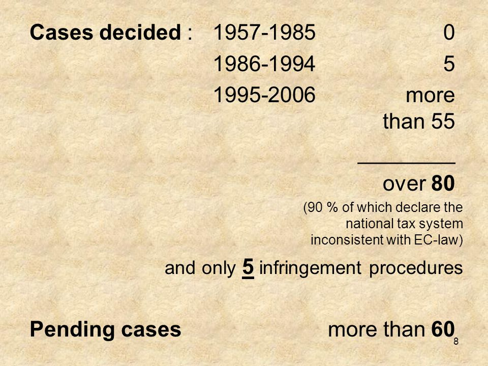 8 Cases decided :1957-19850 1986-19945 1995-2006more than 55 ________ over 80 (90 % of which declare the national tax system inconsistent with EC-law)