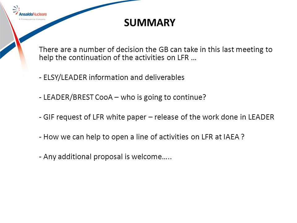 SUMMARY There are a number of decision the GB can take in this last meeting to help the continuation of the activities on LFR … - ELSY/LEADER information and deliverables - LEADER/BREST CooA – who is going to continue.