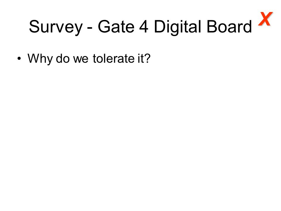Survey - Gate 4 Digital Board Why do we tolerate it? X