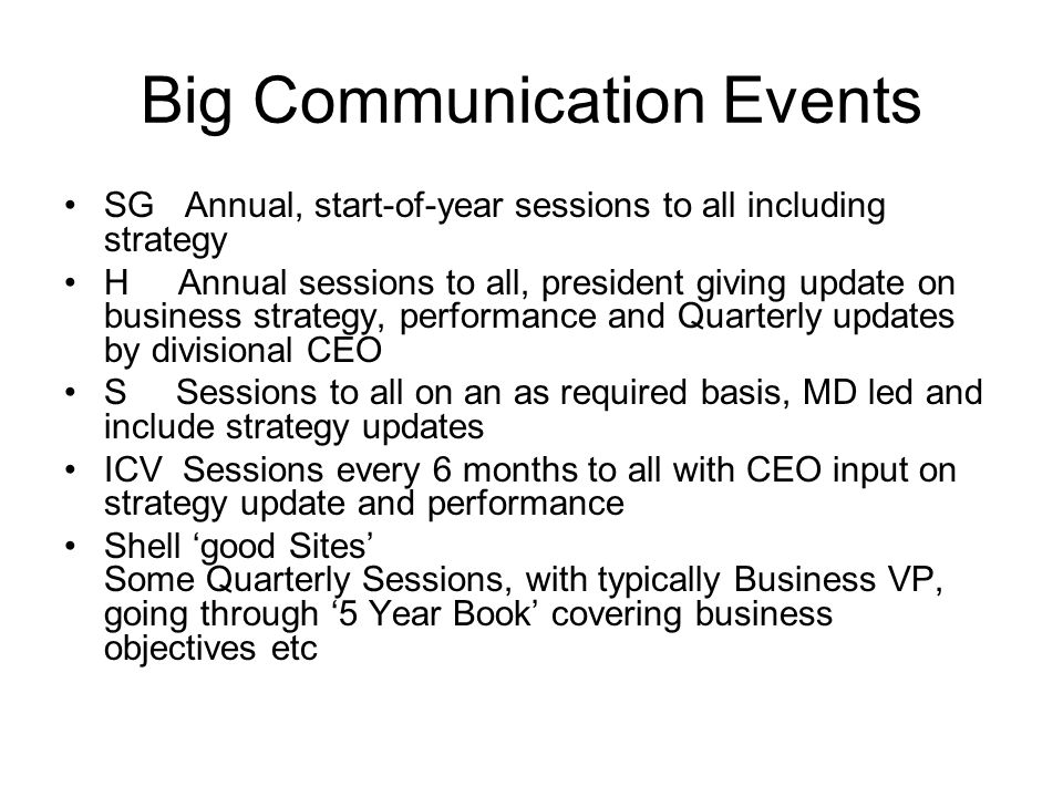Big Communication Events SG Annual, start-of-year sessions to all including strategy H Annual sessions to all, president giving update on business strategy, performance and Quarterly updates by divisional CEO S Sessions to all on an as required basis, MD led and include strategy updates ICV Sessions every 6 months to all with CEO input on strategy update and performance Shell 'good Sites' Some Quarterly Sessions, with typically Business VP, going through '5 Year Book' covering business objectives etc