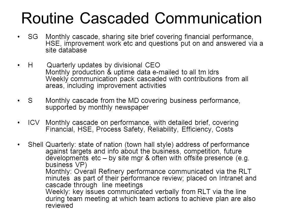 Routine Cascaded Communication SG Monthly cascade, sharing site brief covering financial performance, HSE, improvement work etc and questions put on and answered via a site database H Quarterly updates by divisional CEO Monthly production & uptime data e-mailed to all tm ldrs Weekly communication pack cascaded with contributions from all areas, including improvement activities S Monthly cascade from the MD covering business performance, supported by monthly newspaper ICV Monthly cascade on performance, with detailed brief, covering Financial, HSE, Process Safety, Reliability, Efficiency, Costs ShellQuarterly: state of nation (town hall style) address of performance against targets and info about the business, competition, future developments etc – by site mgr & often with offsite presence (e.g.